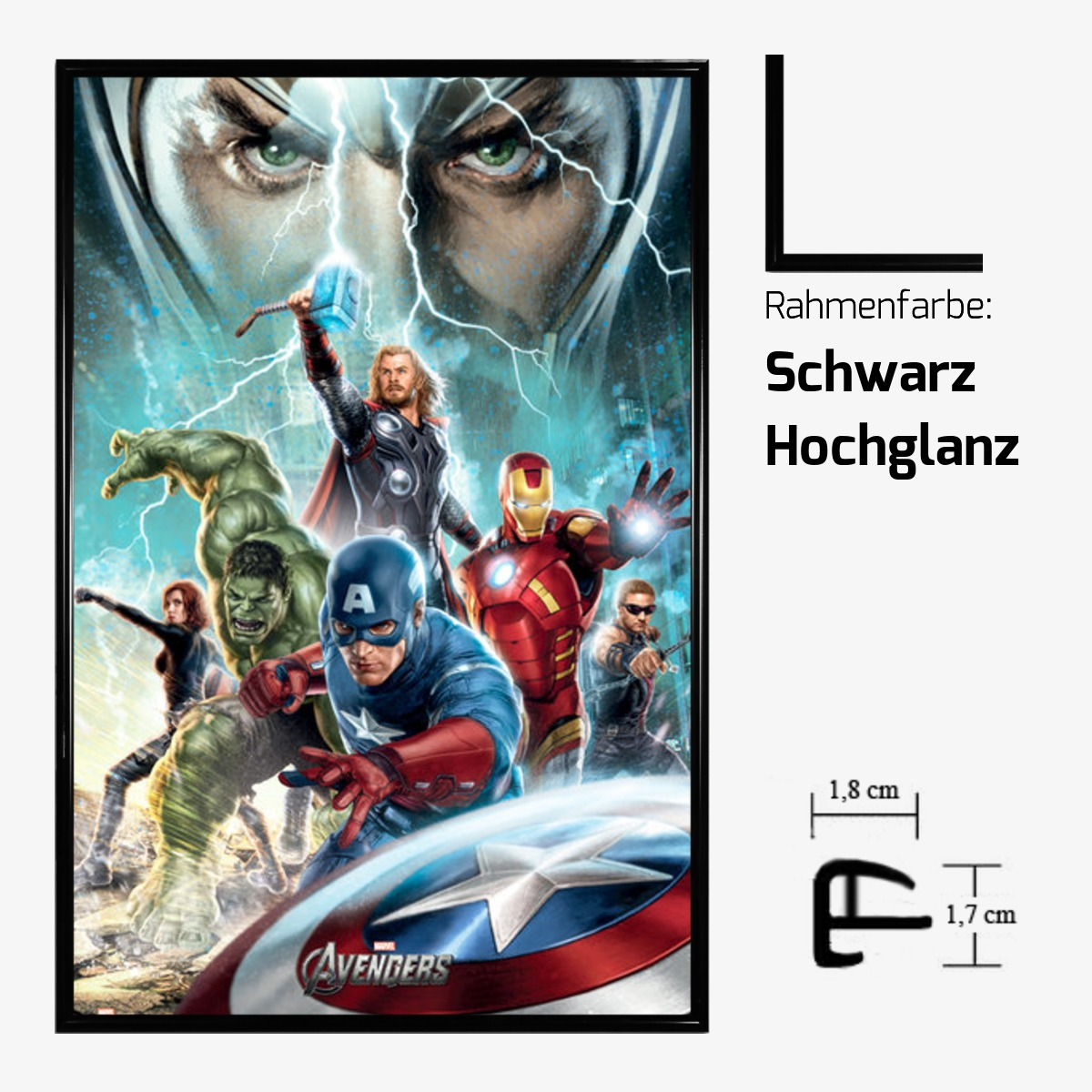 kunstdruck poster 61 x 91 5 cm marvel avengers optional bilderrahmen cliprahmen ebay. Black Bedroom Furniture Sets. Home Design Ideas