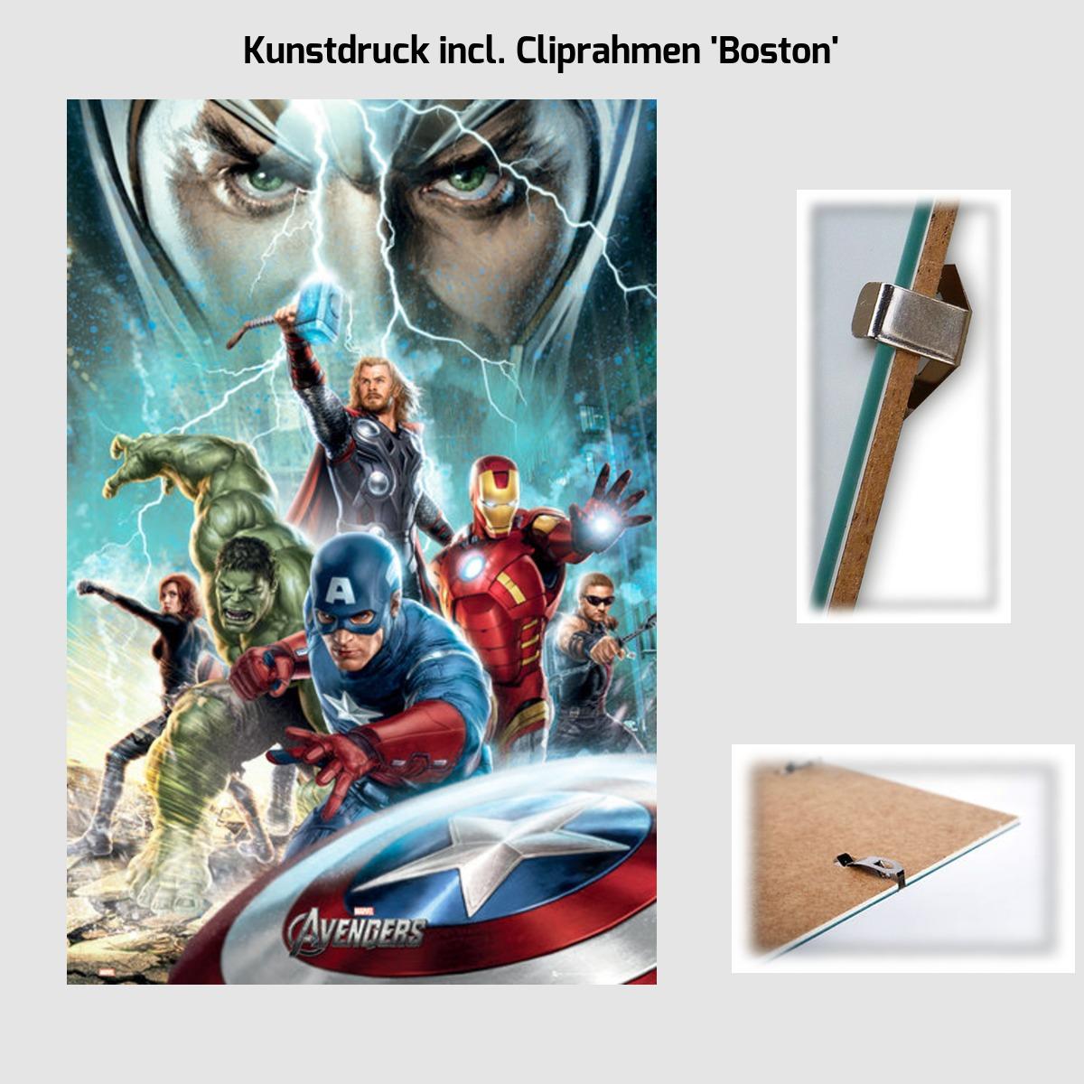 kunstdruck poster 61 x 91 5 cm marvel avengers optional bilderrahmen cliprahmen ebay. Black Bedroom Furniture Sets. Home Design Ideas