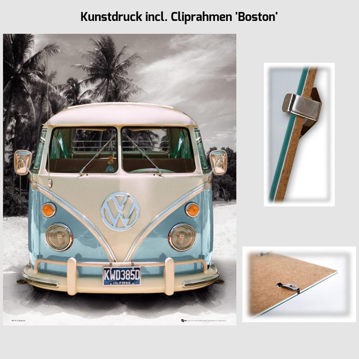 kunstdruck bild 40 x 50 cm vw bulli blau strand optional. Black Bedroom Furniture Sets. Home Design Ideas