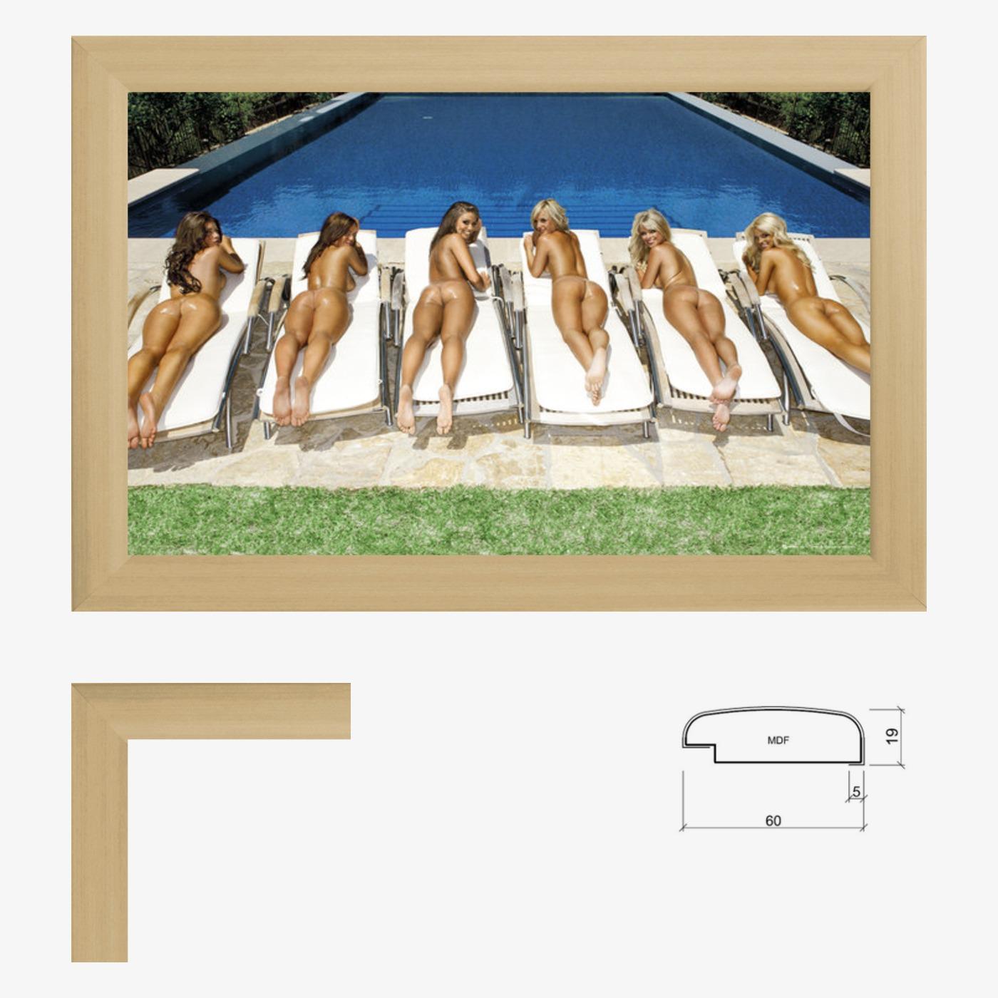 Poster Kunstdruck Bild Erotik Girls 61 x 91,5 mit breitem  Bilderrahmen Farbwahl