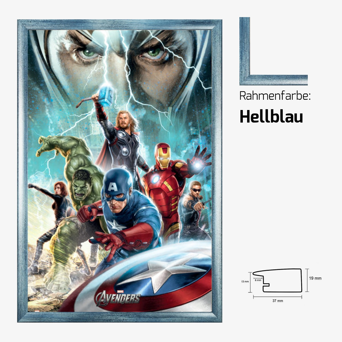 poster the avengers power 61x91 5 cm mit mdf rahmen farbwahl ebay. Black Bedroom Furniture Sets. Home Design Ideas