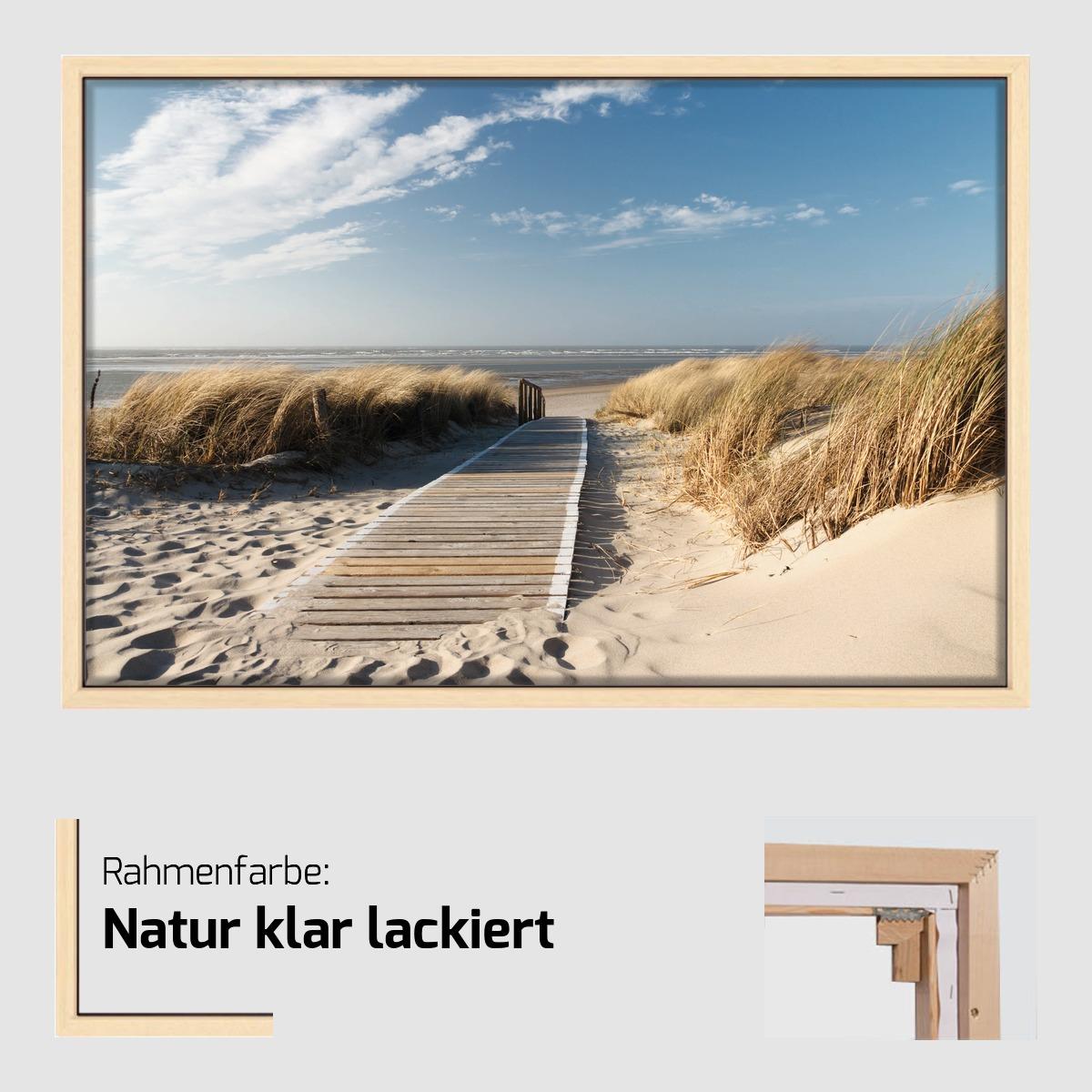 leinwand nordsee strand auf langeoog 80 x 120 schattenfugenrahmen optional ebay. Black Bedroom Furniture Sets. Home Design Ideas