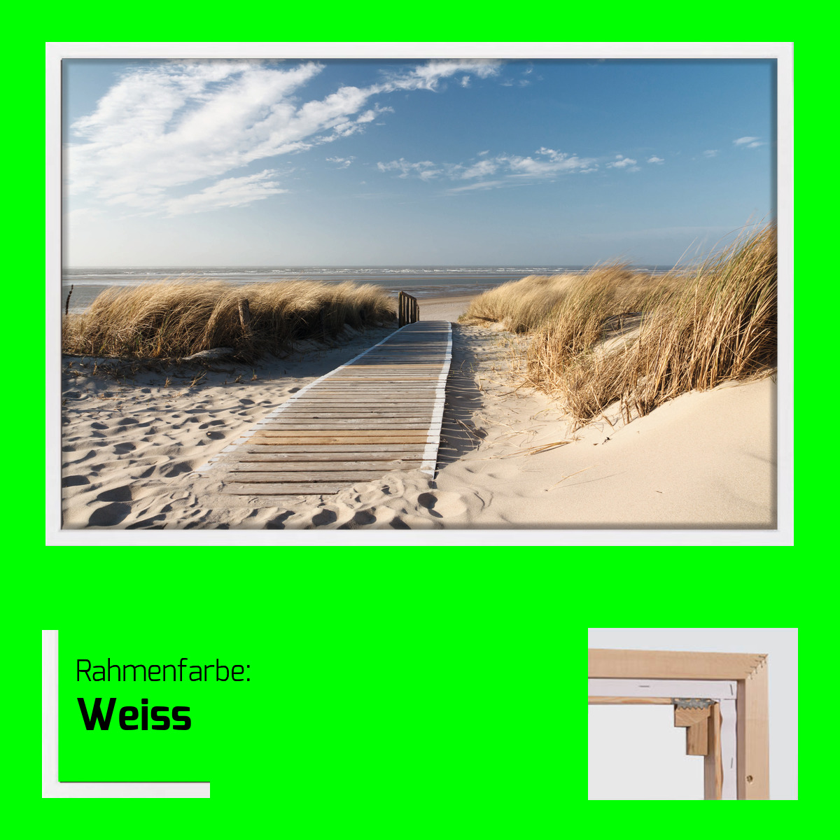 leinwand nordsee strand auf langeoog 80 x 120 schattenfugenrahmen optional ebay. Black Bedroom Furniture Sets. Home Design Ideas