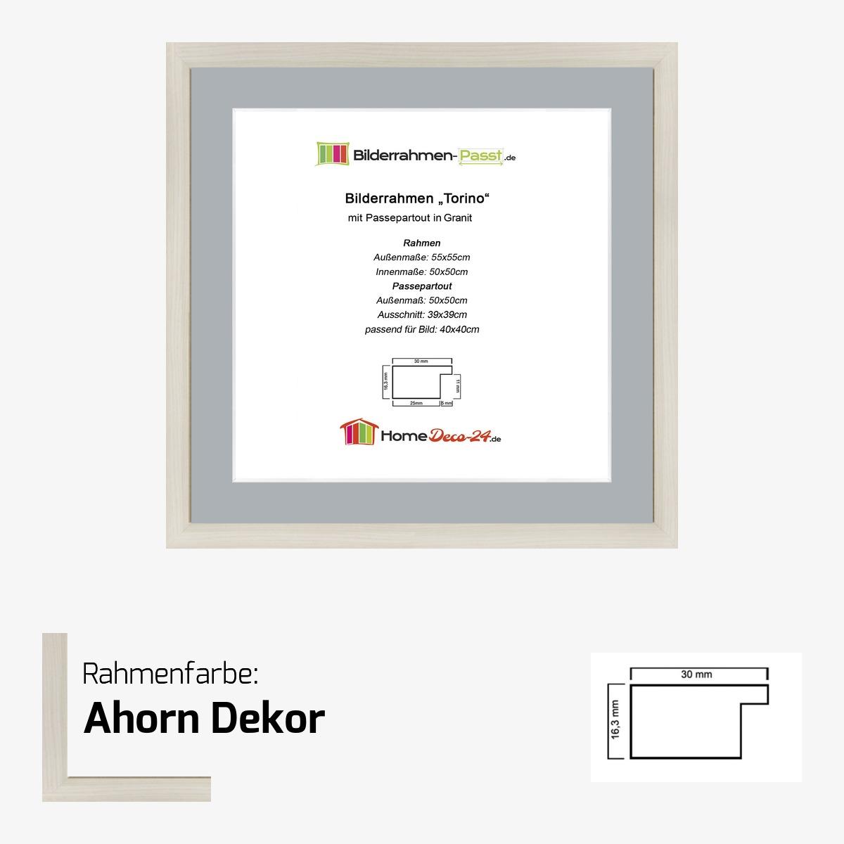 Bilderrahmen torino farbwahl 50x50 cm passepartout for Fenster 50x50