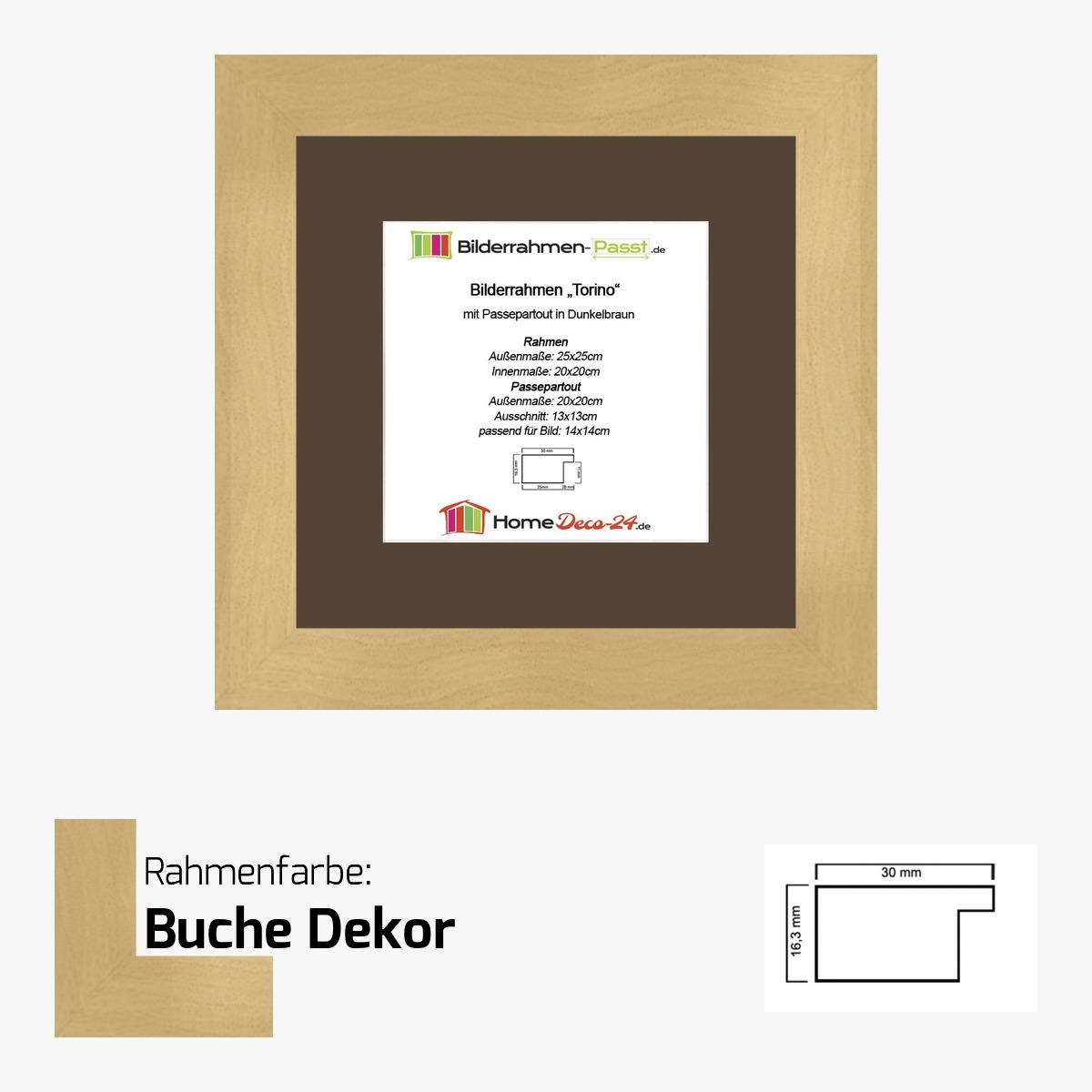 Bilderrahmen Torino Farbwahl 20x20 cm + Passepartout Dunkelbraun f ...