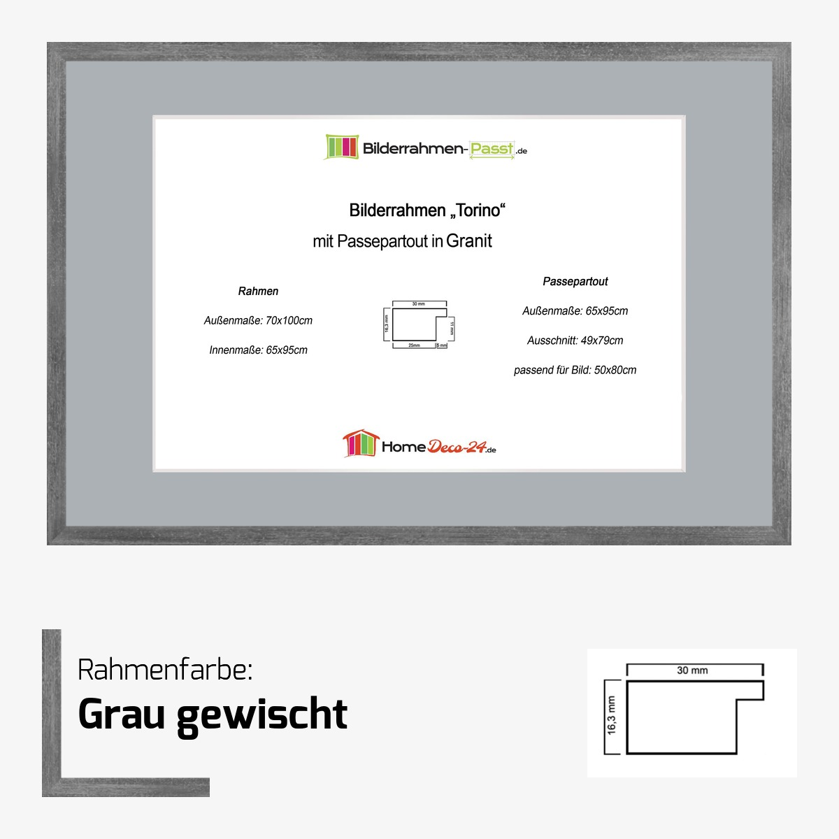 bilderrahmen torino grau 65 x 95 cm passepartout farbwahl f r bild 50x80. Black Bedroom Furniture Sets. Home Design Ideas