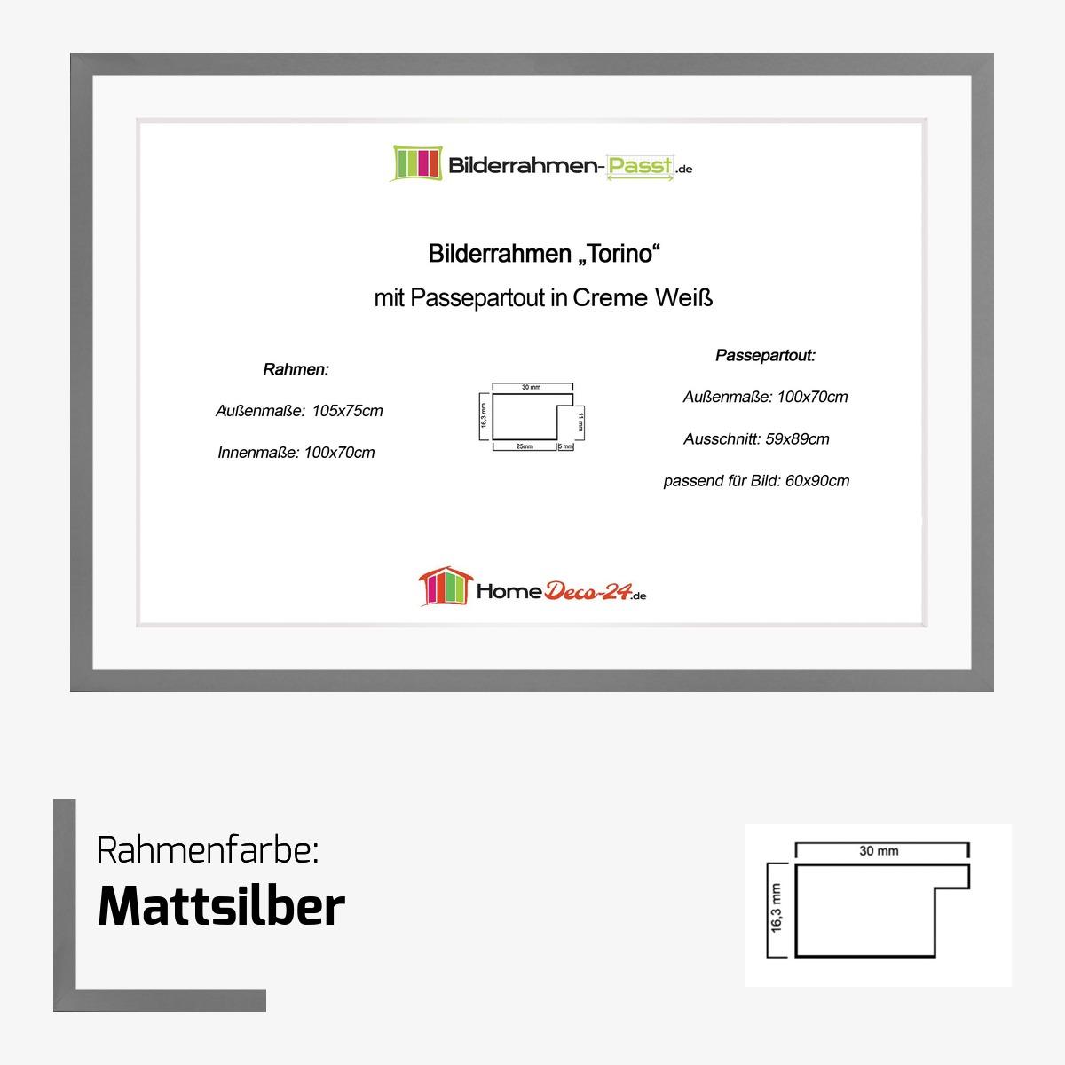 Bilderrahmen torino farbwahl 70x100 cm passepartout for Fenster 70x100