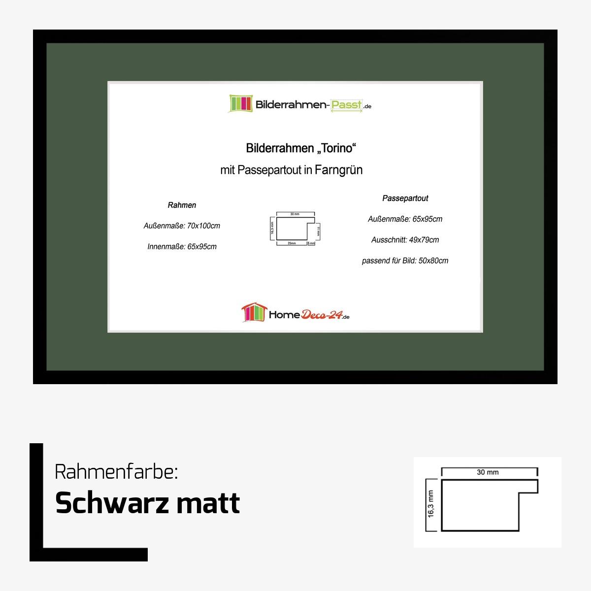 bilderrahmen torino farbwahl 65x95 cm passepartout farngruen f bild 50x80 ebay. Black Bedroom Furniture Sets. Home Design Ideas