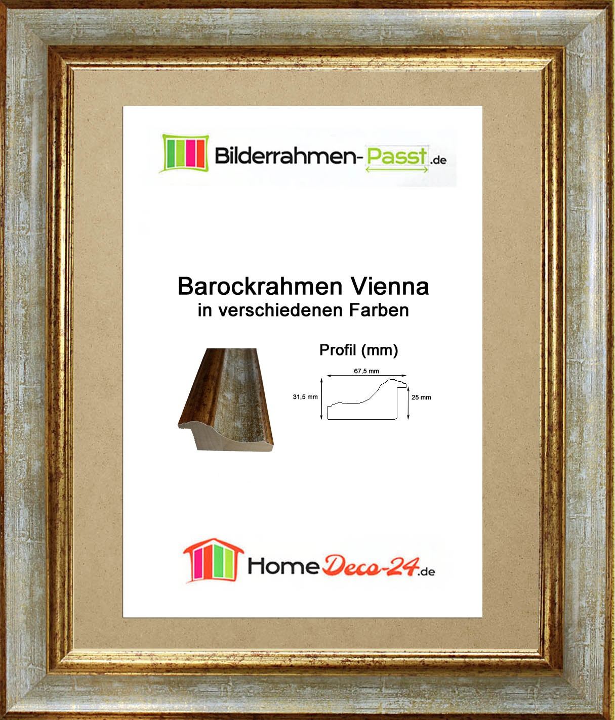 bilderrahmen vienna 60 x 90 cm barock prunk massivholz verglasung farbwahl. Black Bedroom Furniture Sets. Home Design Ideas